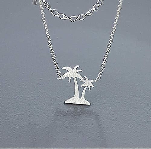 ZHIFUBA Co.,Ltd Necklace Fashion Hawaii Beach Jewelry Double Palm Tree Necklaces Pendants Stainless Steel Coconut Necklace Women