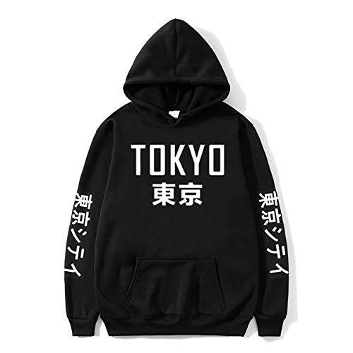 Tasty Life Japan Harajuku Hoodie Herbst Und Winter Männer Und Frauen Gedruckt Sweatshirt Lässig Lose Hip Hop Street Kapuzenpullover(L,Black)