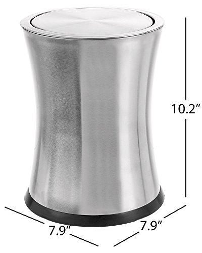 Bennett Swivel-A-Lid Small Trash Can, Stainless Steel Attractive 'Center-Inset' Designed Wastebasket, Modern Home Décor, Round Shape (Brass)