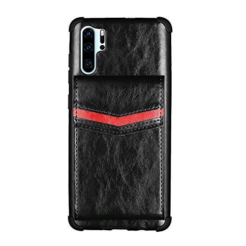 Nadoli Brieftasche Hülle für Huawei P30 Pro,Retro Kartenhalter PU Leder Stoßfest Zurück Bumper Cover Schnallen Geldbörse,Schwarz