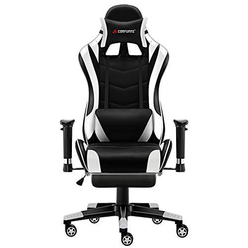 JL Comfurni Gaming Stuhl Bürostuhl mit Fußstütze Ergonomischer Computerstuhl Racing Lehnstuhl höhenverstellbar Schreibtischstuhl mit verstellbaren Armlehnen aus Kunstleder Schwarz und Weiß