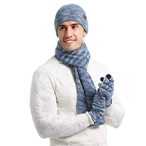BRISEZZ Fashion en Warm Unisex gebreide sjaal muts en handschoenen set stretch muts sjaal en handschoenen set voor skiën schaatsen wielersport outdoor sporten (zwart, blauw, groen, hemelsblauw)
