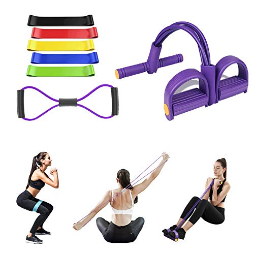 3 in 1 Resistance Fitness Bands Unisex Pedal Resistance Band 5 Resistance Loop Bands 8 Resistance Band Ideal for Home Fitness Stretching Strength Training Physical Therapy Pilates Flexbands