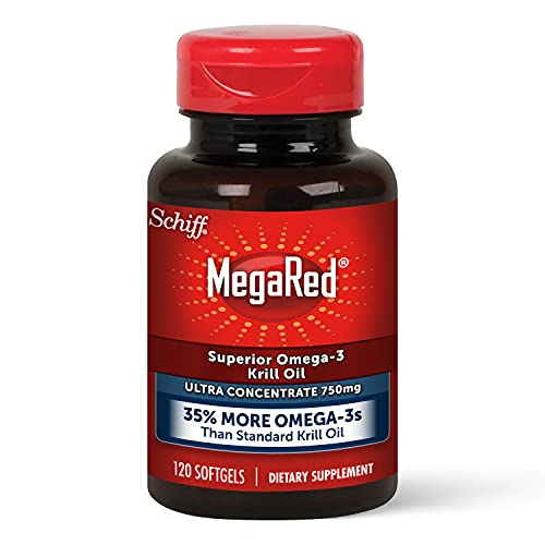 MegaRed Omega-3 Krill Oil Supplement 750mg - Ultra Strength Softgels (120 Count in A Bottle), Has No Fishy Aftertaste, Has EPA and DHA, Antioxidant, Astaxanthin