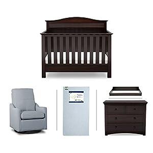 Serta Barrett 5-Piece Nursery Furniture Set (Serta Convertible Crib, 4-Drawer Dresser, Changing Top, Serta Crib Mattress, Glider), Dark Chocolate/Light Blue