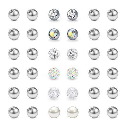 LAURITAMI 36pcs Piercing Lengua Bolas Reemplazo 5mm de Piercing Recambio 14G Ombligo...