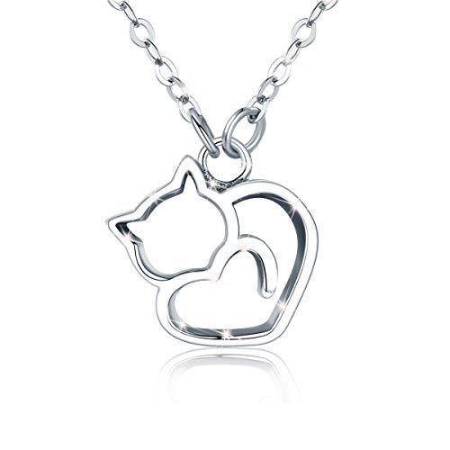 Katzenkette für Frauen 925 Sterling Silber Glücksbringer Halskette Katze Schmuck Weihnachten Geschenk für Frauen Mädchen