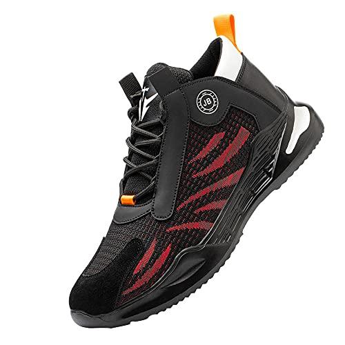 Zapatillas de Industria y construcción para,Trabajo con Puntera de Acero Transpirable Botas de Seguridad,Black Red▁37