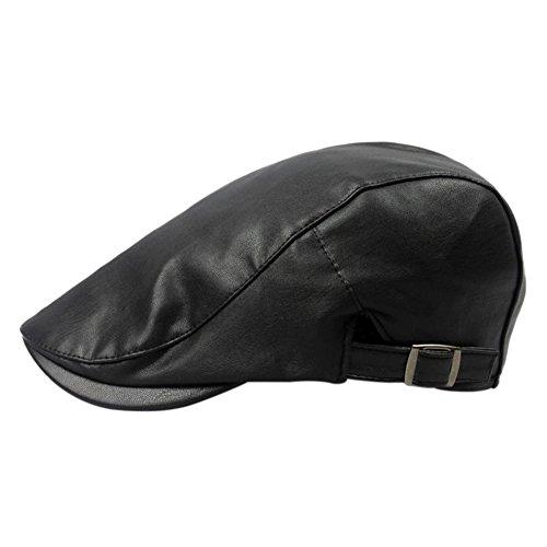 Wicemoon Sombrero de Boina de Hombre Gorra de Cuero de PU Sombrero de Invierno A Prueba de Viento Negro 55-60 CM