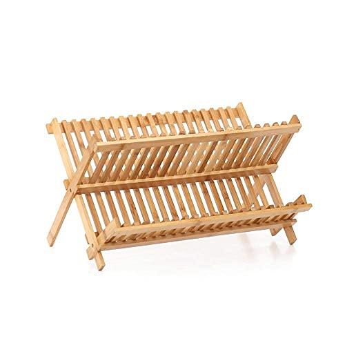 LYTBJ Estante para vajilla, Premier Housewares Estante para Platos Plegable de bambú de Doble Capa, Color Natural (Tamaño: L)