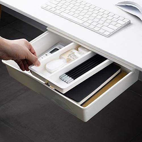 Under Desk Drawer, Ochine Under Desk Storage, Under Desk Pencil Drawer Organizer, Under Table Storage, Adhesive Desk Drawer, Attachable Desk Drawer for Office/Desk/School/Kitchen, 13103 inch