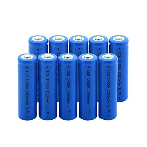 RitzyRose ICR 14500 mAh, 3,7 V, 1500 mAh, batería de iones de litio superior, batería recargable para linterna, 10 unidades