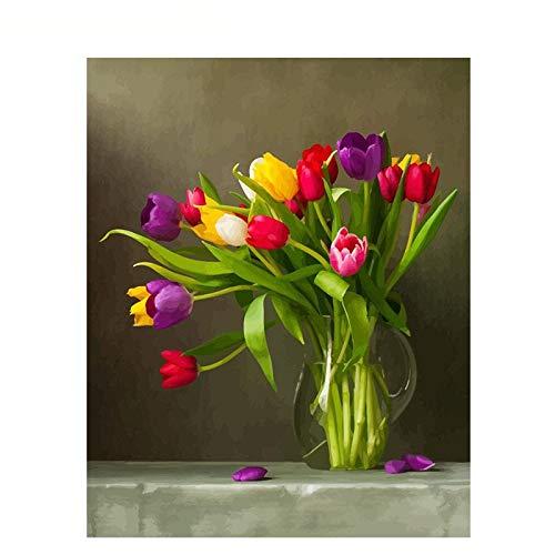 ZXDA Frameless DIY Pintura por números Kit de Flores Pintura acrílica por números Pintura en Lienzo para decoración del hogar Regalo A2 40x50cm