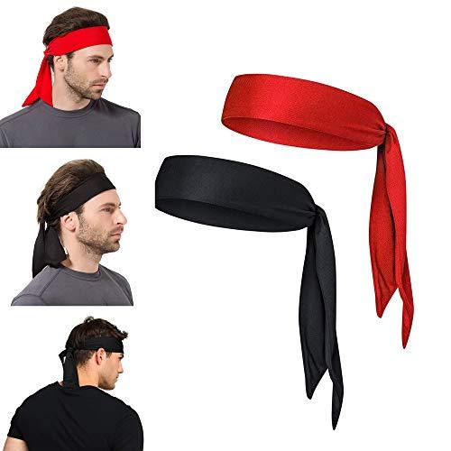 Yizhet Herren Stirnband Sport Schweißband Headband Set Tennis Headband Bandana Running Stirnband Feuchtigkeit Wicking Haarband für Yoga, Tennis, Fahrrad, Running, Basketball (2 Pack)