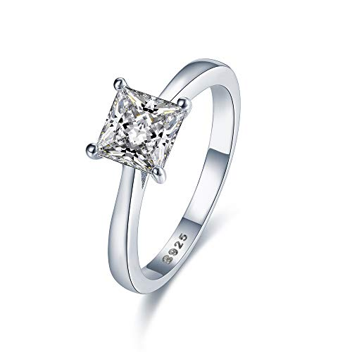 Stunning Sterling Silver Princess Cut Solitaire Engagement Ring With 5A Zircon (L)