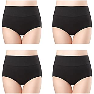 wirarpa 4 Pack Women's High Rise Underwear Modal Stretchy Soft Breathable Briefs Knickers Panties for Ladies Black Size XL:Greatestmixtapes