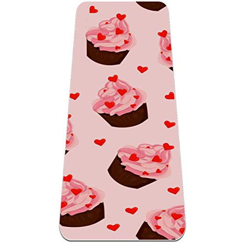 Esterilla de yoga antideslizante de 1/4 de pulgada de grosor con correa de transporte para todo tipo de ejercicio, yoga y pilates (72 'x 24' x 6 mm de grosor) Love Cup Cake