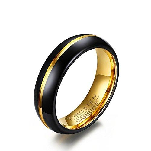 Anillo de boda USUASI para parejas de acero de tungsteno de 18 quilates de oro negro Negro