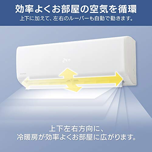 アイリスオーヤマエアコン6畳ルームエアコン2.2kW上下左右自動ルーバー搭載本体室外機リモコンセット2020年温度表示モデル