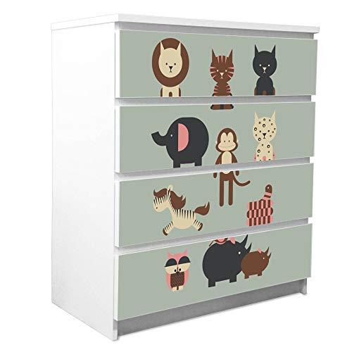banjado Möbelfolie passend für IKEA Malm Kommode 4 Schubladen | Möbel-Sticker selbstklebend | Aufkleber Tattoo perfekt für Wohnzimmer und Kinderzimmer | Klebefolie Motiv Eule und Co B