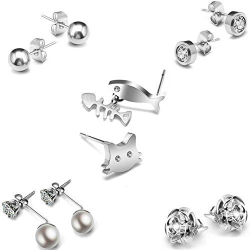 Bling Toman Titanium Stud Earrings for Women Girls Earrings Surgical Steel Earrings Hypoallergenic Earrings Sensitive Ear Piercing Earrings Studs Mothers Gifts (Titanium Earrings)