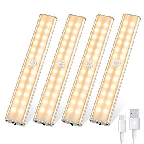 Luz LED para armario, luces nocturnas con sensor de movimiento para interior de 24 LED, luces de armario recargables inalámbricas USB con tira magnética adhesiva, luz para armario de cocina