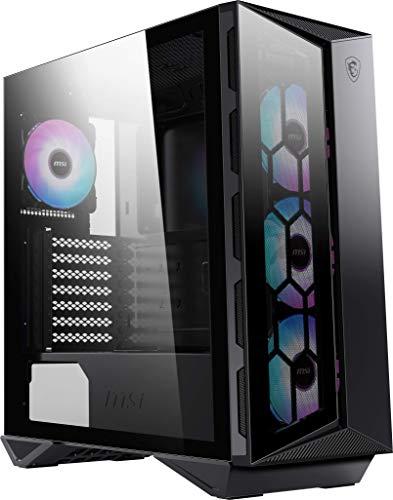MSI MPG GUNGNIR 110R PC-Gehäuse (eingebaute ARGB Lüfter, 4mm ESG Glas, Standard ATX), Magnetfilter schwarz, 306-7G10R11-W57
