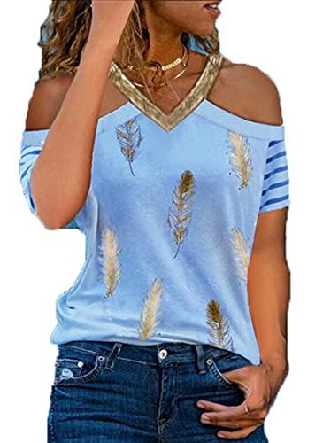 SLYZ Camiseta Casual con Estampado De Plumas con Cuello En V Y Hombros Descubiertos A La Moda De Verano para Mujer