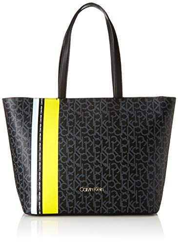 Calvin Klein - Monogram Ew Shopper Str, Bolsos totes Mujer, Negro (Black...