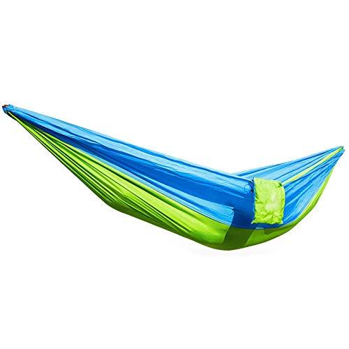 Hamaca de viaje ultraligera de 270 x 140 cm, portátil, ligera, de nailon de paracaídas, doble hamaca con correas para mochileros, camping, viajes, playa, patio