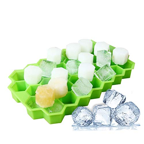 Rishine Ice Cube Trays,2 Pack Honeycomb Shape Ice-Cube Maker Ice Tray Ice Trays Mold Storage Containers Tray DIY Mould Green