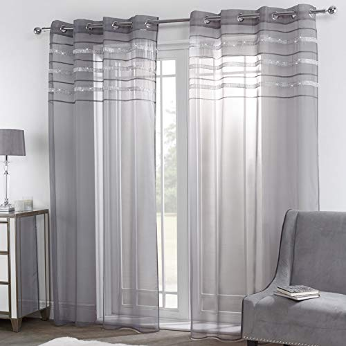 Sienna Latina Pair of 2 Glitzy Curtains Eyelet Ring Top Window Panels, Grey-55, Diamante Voile Net, Charcoal Grey, 55' wide x 87' drop