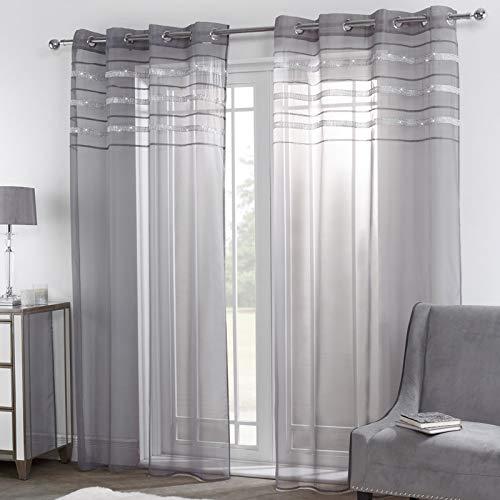 """Sienna Fensterbehandlungs-Draperies, 100% Polyester-Voile-Netz, Anthrazit, 55"""" Wide x 87"""" Drop"""