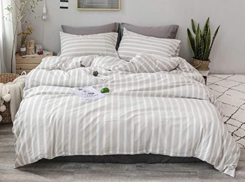 "Capa de edredom F.Y.Dreams para cobertor pesado, 100% Washed Cotton Stripe Khaki, 48""x72"" duvet cover"