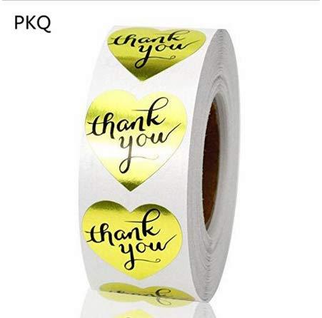SUPVOX Gracias Adhesivos Rollo de Etiquetas Adhesivas Etiquetas de Papel Kraft Galletas Adhesivas Embalaje de Regalo Pegatinas de Sobres para Tarjeta de Regalo de Boda