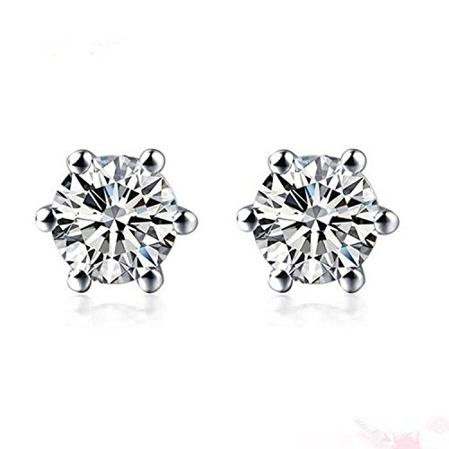 Diamant Solitaire Ohrstecker für Frauen Set in Platin