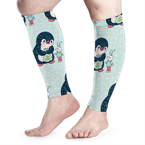 IMERIOi Dear Zoo Penguin Rabbit Blue Cool Running Home Workout Sport Gym Gear Accessories Calf Compression Sleeve Leg Jobs Running Half Foot Guard Protective Supports Guards