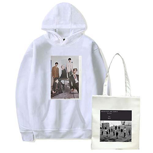 Seventeen Girlies Harajuku Chándal Corea Combinación Unisex Estampado con Capucha + Bolsa de Lona Sudadera KPOP Streetwear Hip Hop Suéter Moda Divertida Estudiante Fans Apoyo Juego de Regalo (XXS-X