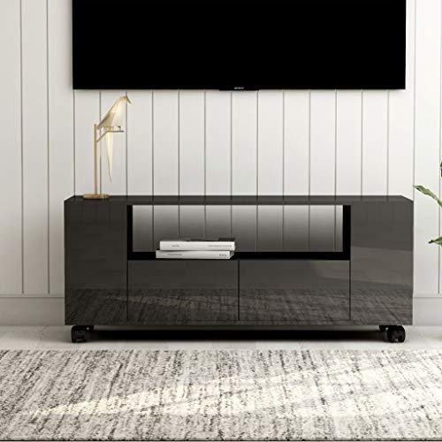 LIUBIAONET Mueble para TV aglomerado Gris Brillante 120x35x43 cm