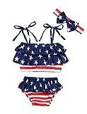 4th of July Infant Baby Girl Swimsuit Ruffle Stars Strap Top and Bikinis Skirt with Headband 3 Piece Swimwear(12-18M) Blue