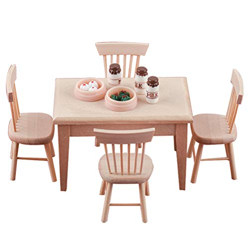 BASOYO 1 Set 1/12 Dollhouse Miniature Dining Table Chair Set Doll House Wooden Furniture Kitchen Toy for Dollhouse