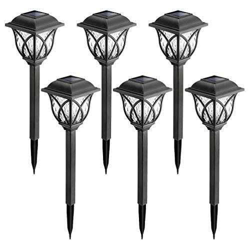 Uonlytech – Lámpara solar al aire libre, resistente al agua, conector de suelo, luz de jardín, luces para césped, terraza, paisaje, camino, entrada (6 unidades de luz cálida)