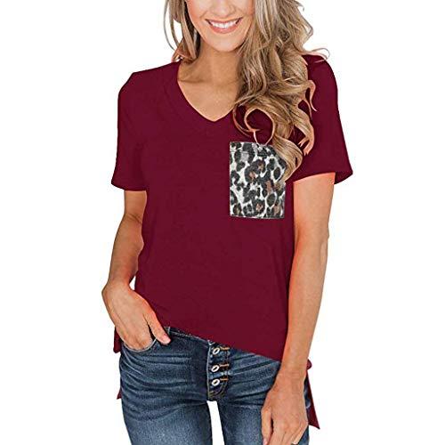 VJGOAL dames T-shirt korte mouwen V-hals grote maten casual korte mouwen tops zomer luipaard tas blouse bovendeel