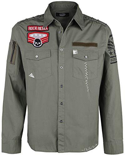 Rock Rebel by EMP grünes Army Hemd mit Patches und Brusttaschen Männer Langarmhemd Oliv M