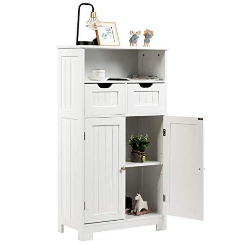 COSTWAY Badezimmerschrank mit höhenverstellbarer Ablage, Badschrank freistehend, Badkommode, Küchenschrank für Badezimmer, Schlafzimmer, Wohnzimmer und Büro, 60 x 30 x 109cm, weiß