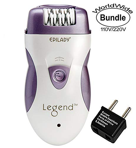 Epilady Legend 4th Generation Rechargeable Epilator With Dual Voltage 100-240V Power Supply Adapter and International Two-Prong Round Pin Plug Adapter Travel Pack