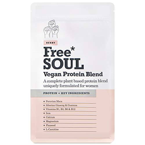 Free Soul - Vegan Proteinpulver | Konzipiert für Frauen | 600 g | 20 g Protein | Hinzugefügte Nährstoffe | Gluten- und sojafreier Proteinshake auf pflanzlicher Basis (Beeren)