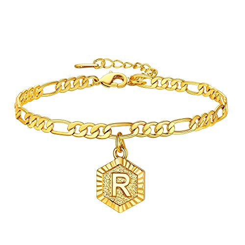U7 Letter Anklet Gold Alphabet R Hexagon Pendant Charm, Resizable 8.5Inch Figaro Chain(22CM+5CM), with Gift Box, Present for Girlriend, 18K Gold Plated Women Jewellery Majuscule Chain Initial Anklet