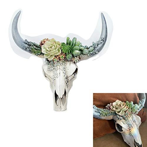 Decoración de pared de resina de cabeza de toro-Suculenta/Flor Cráneo de vaca Decoración de pared Decoración de guardería, Simulación 3D Animal Cráneo de vaca para interior (Flor verde, Grande)