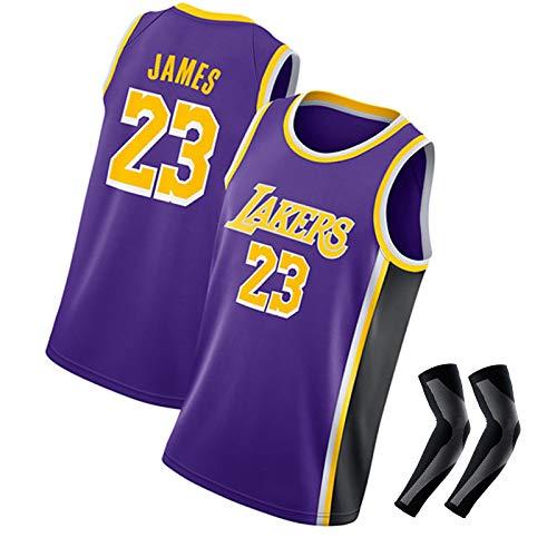 LZZQMR Chaleco de Baloncesto de los Hombres Adecuado para Lakers # 23 James Jersey, Jersey de poliéster Swingman, Camisa de Malla Bordada, Guardia de Brazo de Baloncesto Purple 2-M